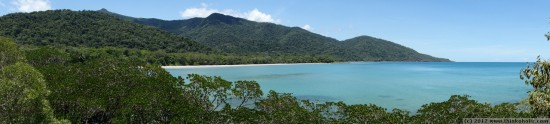 panorama: beautiful cape tribulation in far north queensland