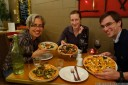 mostly vegetarian pizzas - with amy, brianne and brad. 2012-11-14 09:16:55, DSC-RX100.
