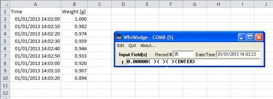 how to print a timestamp with periodic output from software wedge