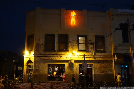 freaky glowing baby mounted on a wall, fitzroy, melbourne