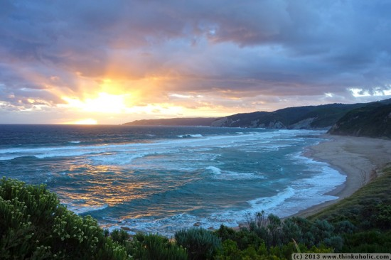 sunset at johanna beach, great ocean road, australia (hdr)