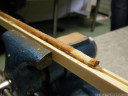 preparation of a wood core sample of european larch (larix decidua)