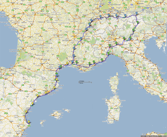 bike09: bike routes one (via italy) and two (via switzerland) from innsbruck, austria to denia, spain (map data: google maps)