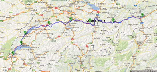 bike route two, first week: western austria, liechtenstein and switzerland (map data: google maps)