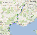 bike route two, second week: down south from the swiss-french border, to aigues mortes, and along the coast to the french-spanish border (map data: google maps)