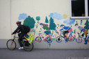 anton's bike gang, wall painting at an elementary school near landeck