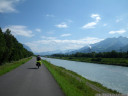 driving along the rhine river, the border of liechtenstein and switzerland