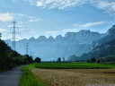 view of the churfuersten range. bike lane near flums, switzerland