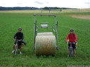 giant straw bale bike near orny, switzerland