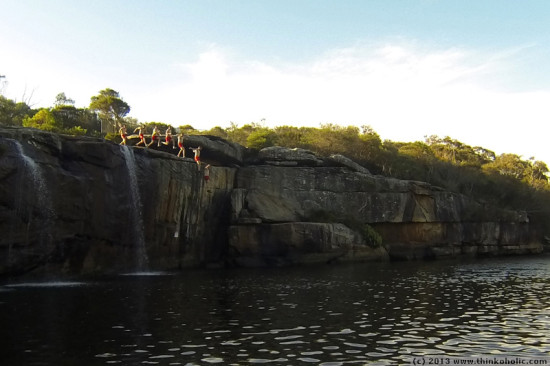 wattamolla cliff dive, royal national park, australia