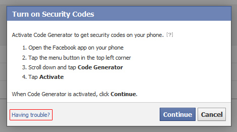 "click ""get started"", choose your phone's software platform, and ""continue"". the next window will tell you how to get verification codes from within the facebook app. ignore this, and click ""having trouble?"" instead."