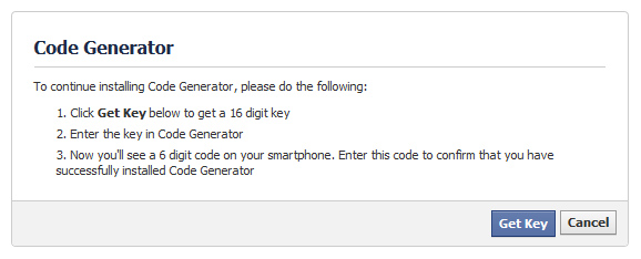 "clicking on ""get key"" will get you the key needed to generate verification codes with google authenticator (or other apps)."