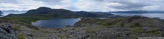 panorama: view of lake muotkevuonjavri and northern seiland, finnmark, norway