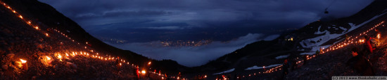 panorama: summer solstice fires at seegrube, innsbruck