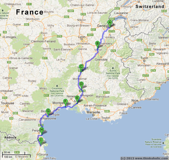South Coast Of Spain Map.Bike09 Part 2 Traversing France From Switzerland To Spain A Two