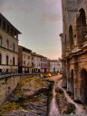 hdr: arles amphitheatre, a roman arena in the middle of the city