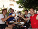 family reunion in aigues mortes, after almost two weeks of separate bike adventures