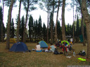 family time and biking stories at our night's camp site in figueres, spain
