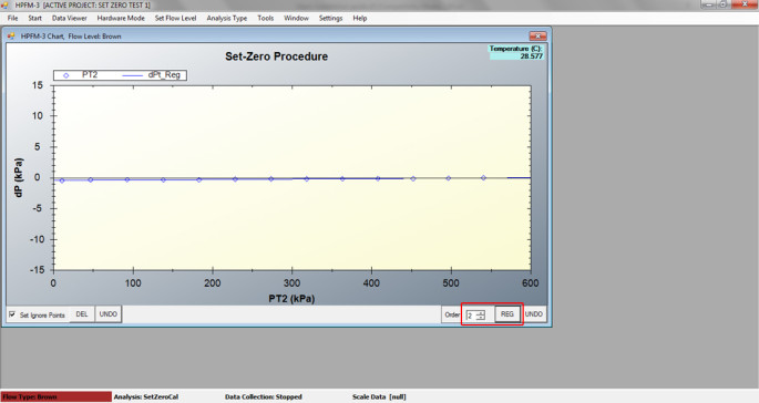 "24. Record pressurization data, set ignore points if necessary, change ""Order"" to 2 and click REG to run a regression."