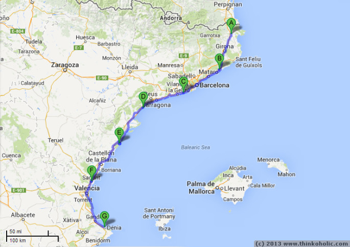bike route two, third week: a journey from the french-spanish border, to barcelona and along the coast to the our destination, dénia