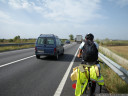 biking on the busy N-11 national route