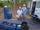 two lovely, elderly melon vendors in almarda