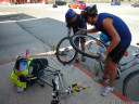 improvised bike repair - how do you fix a completely busted tyre?
