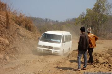 bumpy ride, stuck minibus