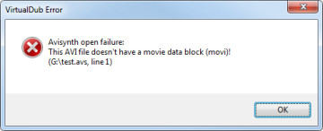 "5a. if step 5 results in an error message saying ""This AVI file doesn't have a movie data block (movi)!"" (e.g. with brinno footage), open your original .avi file in virtual dub."