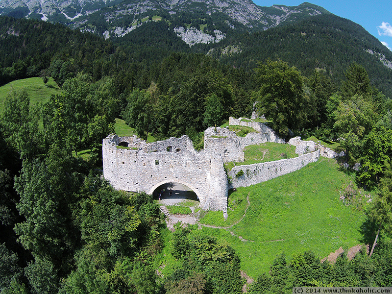 castle ruins from above - burgruine thaur, austria