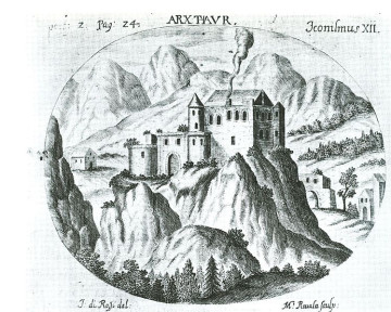 the arx (castle) of thaur - etching by m. rivoli (1699; public domain