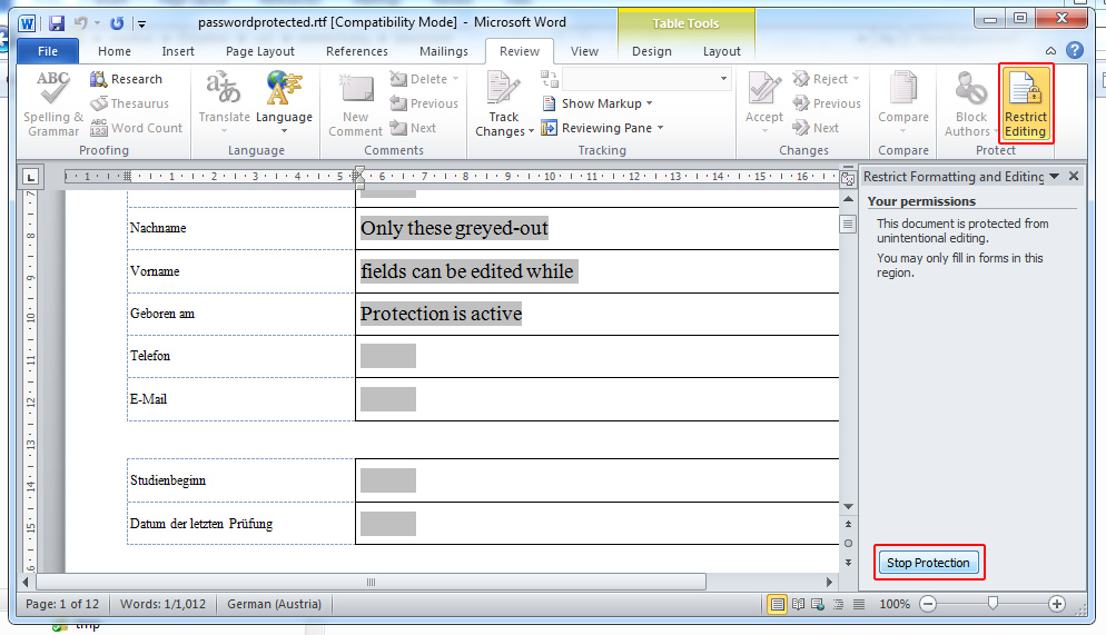 microsoft word protect document track changes