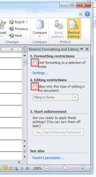 "Re-open the modified Rich-Text file in Word, go to ""Review"", ""Restrict Editing"" and click on ""Stop Protection"". Uncheck all tick-boxes. - How to remove unknown passwords from protected Microsoft Word files"