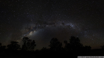 night sky panorama: the milky way, seen from toorale national park in the australian outback