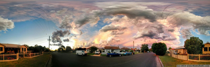 panorama: dramatic clouds and colours at sunset
