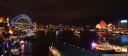 sydney harbour at circular quay illuminated for vivid 2016
