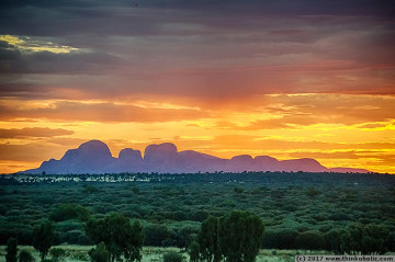 kata tjuta at sunset, seen from the uluru sunrise viewing platform