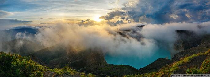 panorama: sunrise over tiwu nua moori koohi fah, kelimutu volcano, flores, indonesia