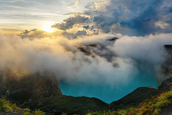 hdr panorama: sunrise at kelimutu volcano, flores, indonesia