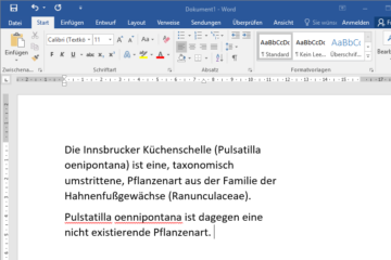 Office Rechtschreibkorrektur: Pflanzennamen von Österreich, Deutschland und der Schweiz als benutzerdefiniertes Wörterbuch
