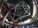 inside the gran telescopio canarias - primary and secondary mirrors