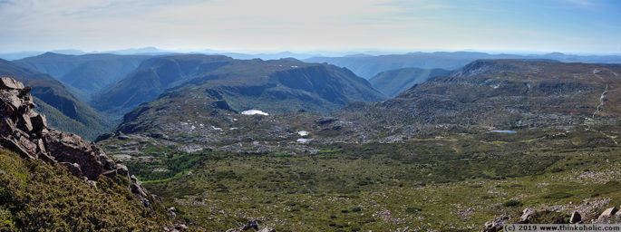 view of the overland track, tasmania. looking west from cradle mountain.