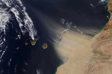 The canary islands are blanketed by a massive sand storm from the Sahara, February 2020. (Picture: Nasa Earth Observatory)