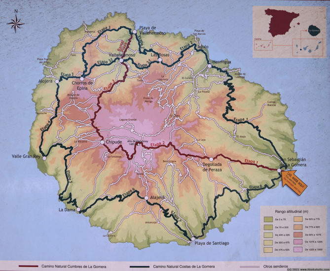 Overview map of GR131 and GR132 - long distance hiking routes on La Gomera